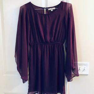 Ya Los Angeles Eggplant Silk & Polyester Dress